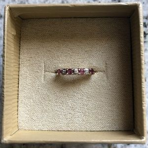 Jewelry - 10k yellow gold ruby and diamond accent ring